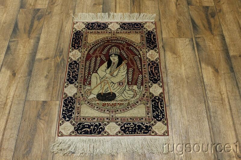 One-of-a-Kind English Kerman Traditional Persian Hand-Knotted 1'11