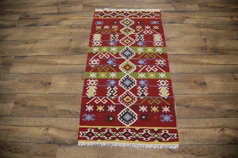 Mendelsohn Kilim Turkish Traditional Oriental Hand-Woven Wool Red/Green Area Rug