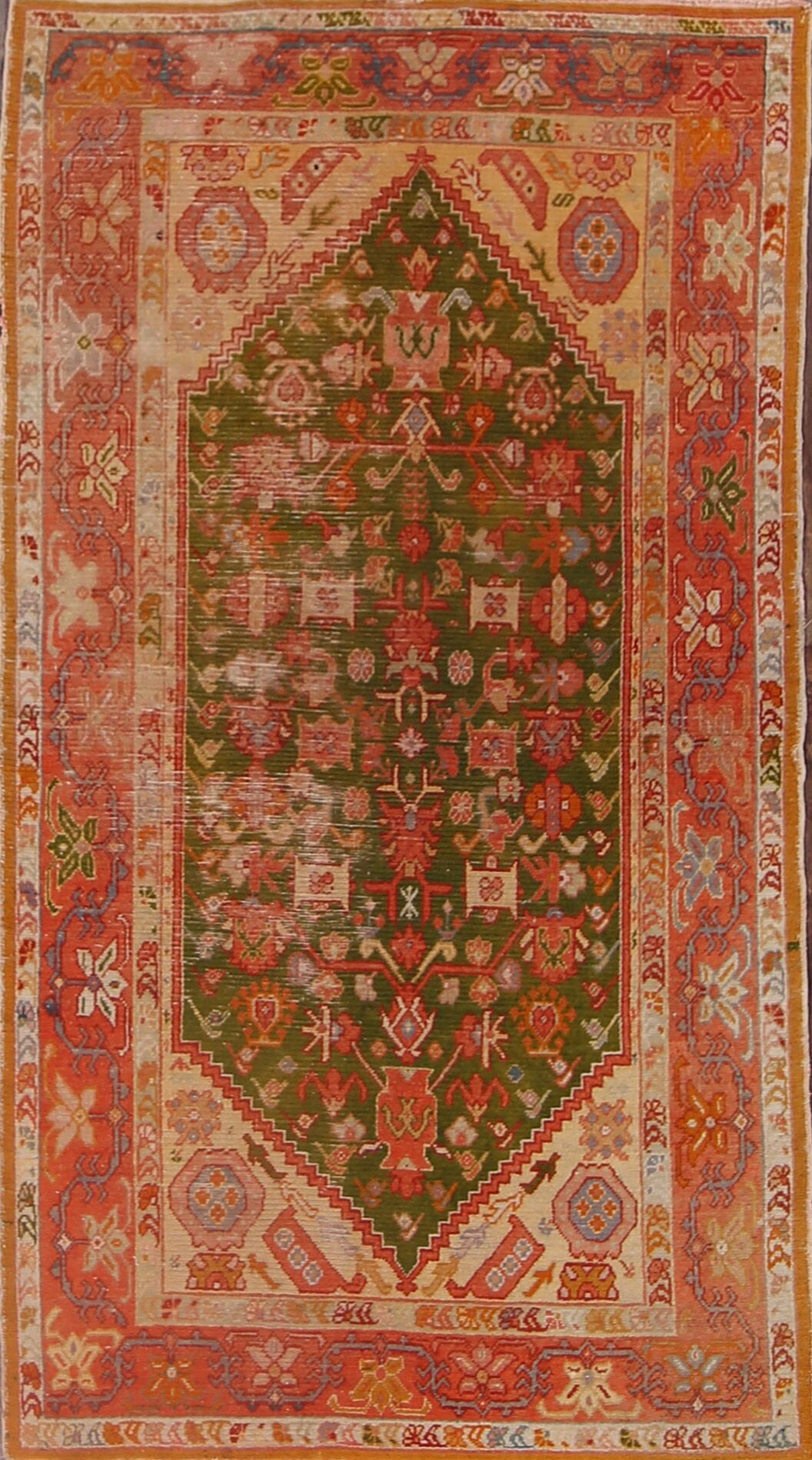 Delfzijl Oushak Turkish Oriental Antique Hand-Knotted Wool Red/Green Area Rug