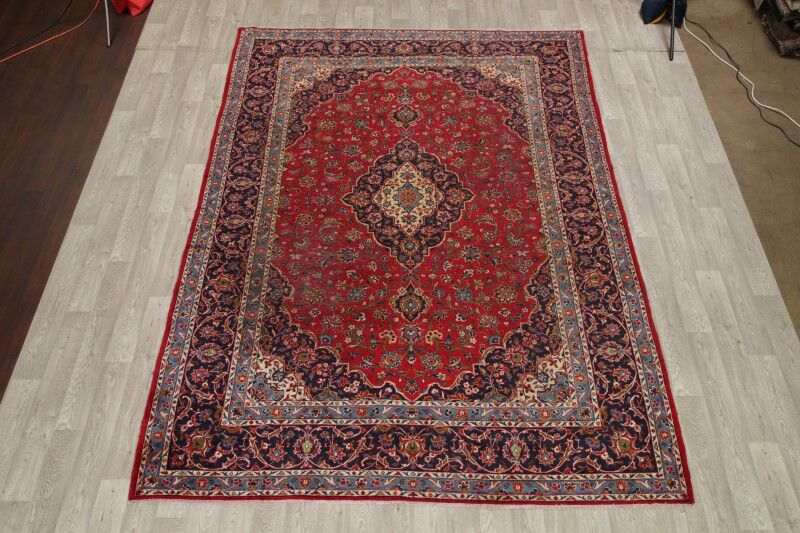 One-of-a-Kind Traditional Kashan Persian Hand-Knotted 8'4