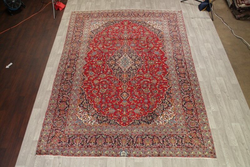 One-of-a-Kind Vintage Traditional Kashan Persian Hand-Knotted 9'7