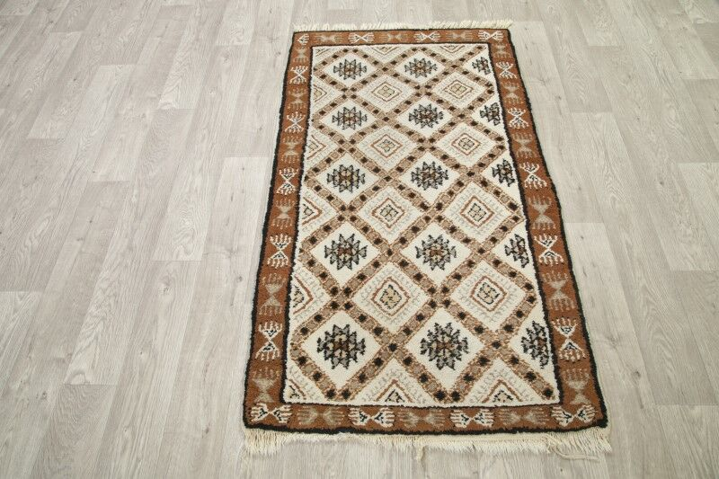 Stonington Traditional Geometric Moroccan Hand-Knotted Wool Beige/Brown Area Rug