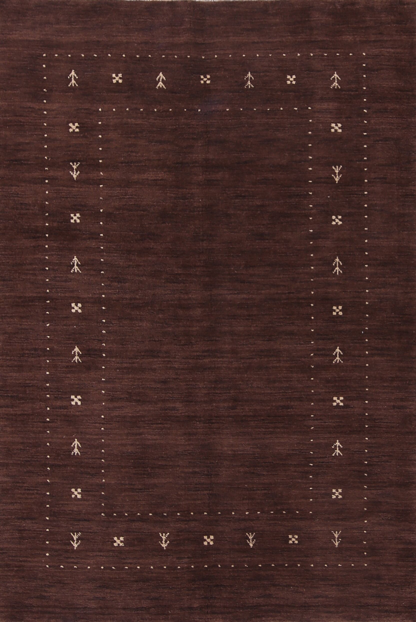Fieldon Gabbeh Oriental Hand-Knotted Wool Brown Area Rug