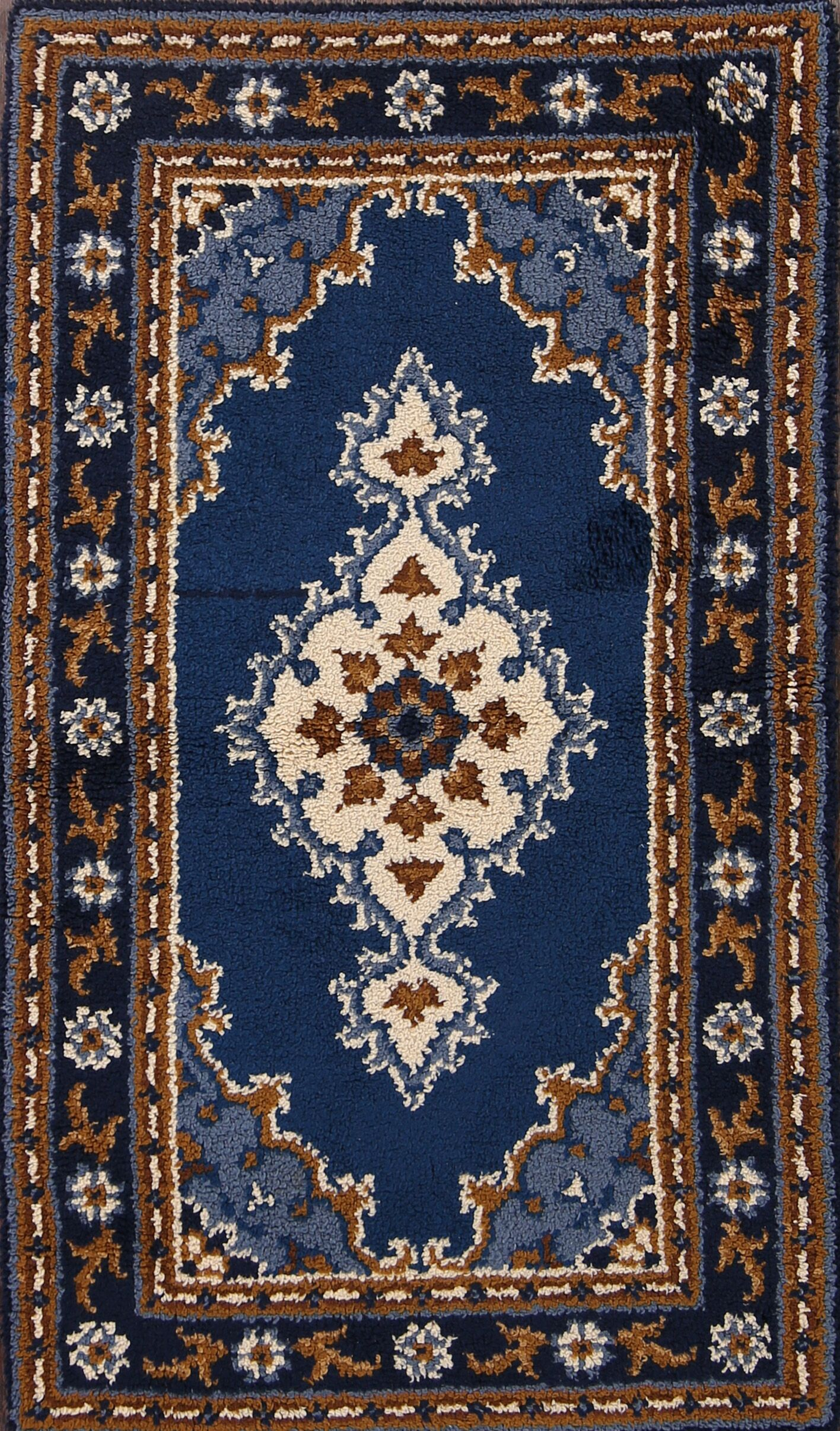 Colchester Classical Rya Sweden Traditional Oriental Hand-Knotted Wool Black/Blue Area Rug