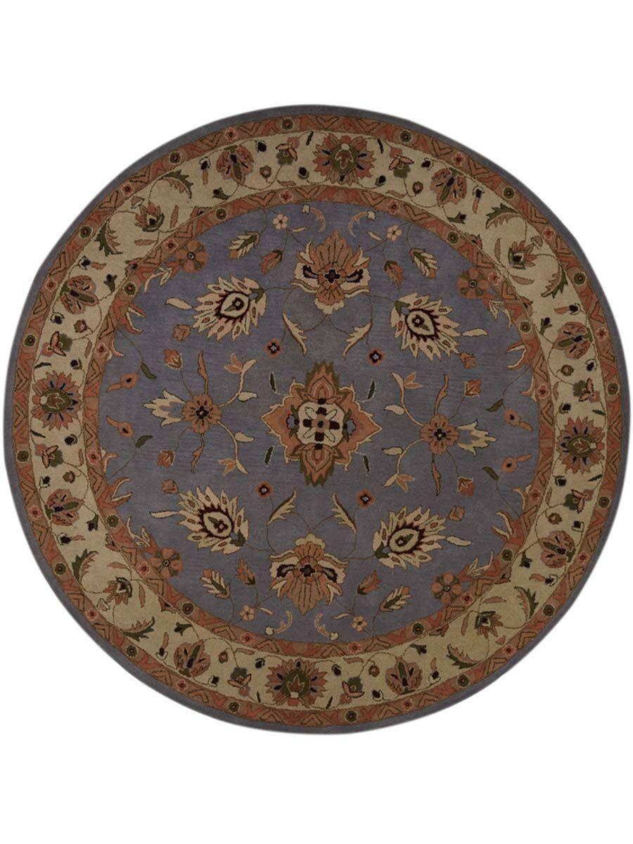 Hayley Agra Kashan Oriental Hand-Tufted Wool Brown/Blue Area Rug