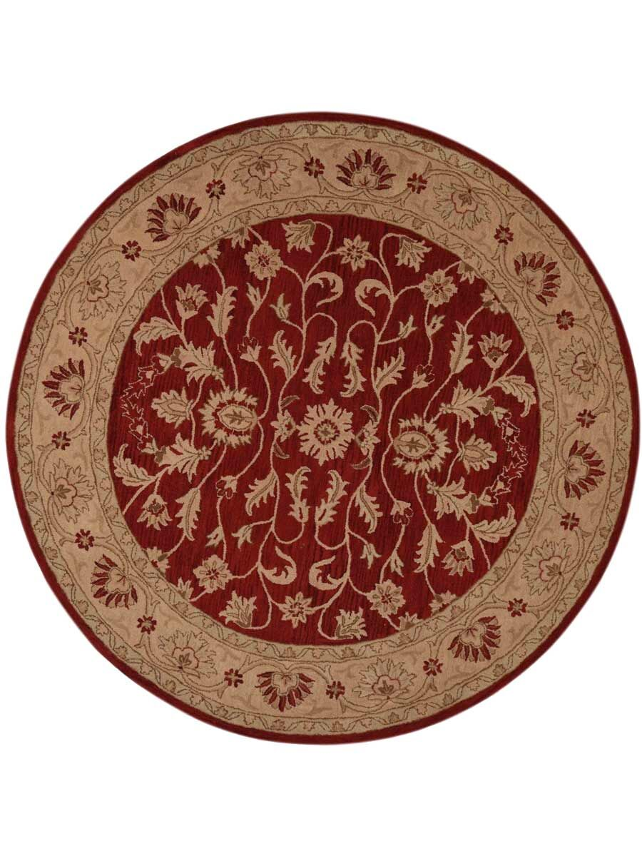 Beekman Place Kashan Agra Hand-Tufted Wool Beige/Red Area Rug