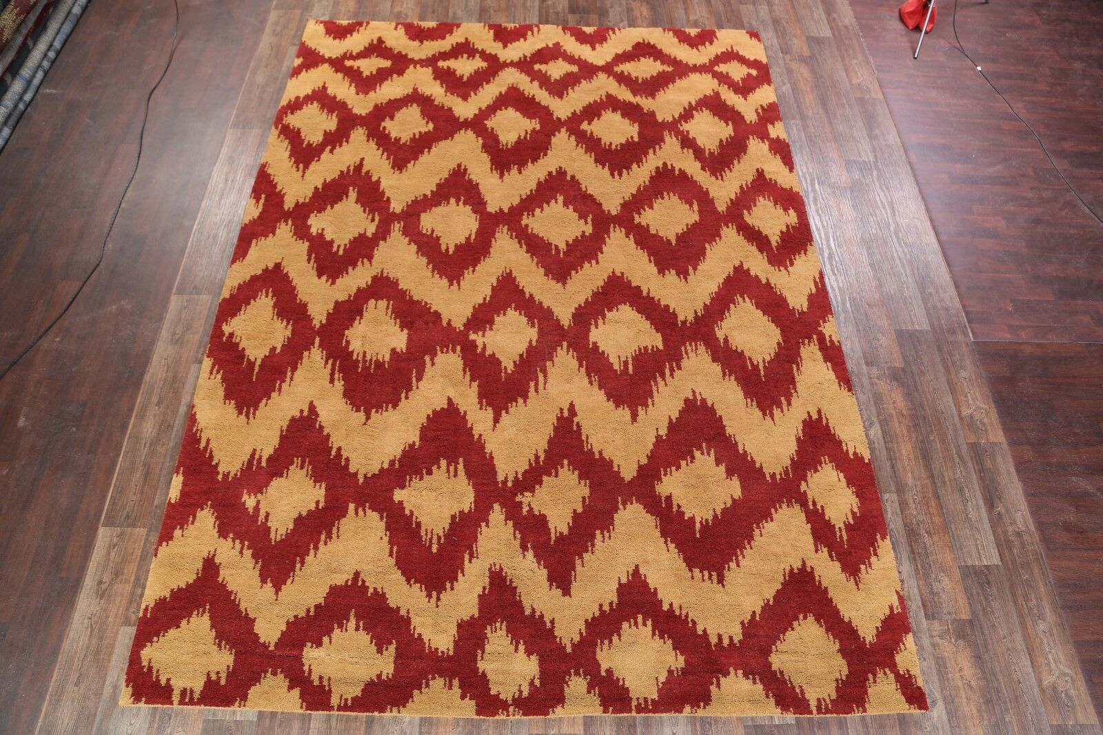 Lux Traditional Moroccan Oriental Hand-Knotted Wool Red/Yellow Area Rug