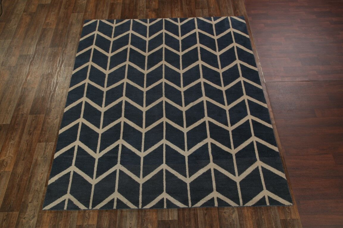 Laws Traditional Moroccan Geometric Trellis Oriental Hand-Knotted Wool Beige/Blue Area Rug