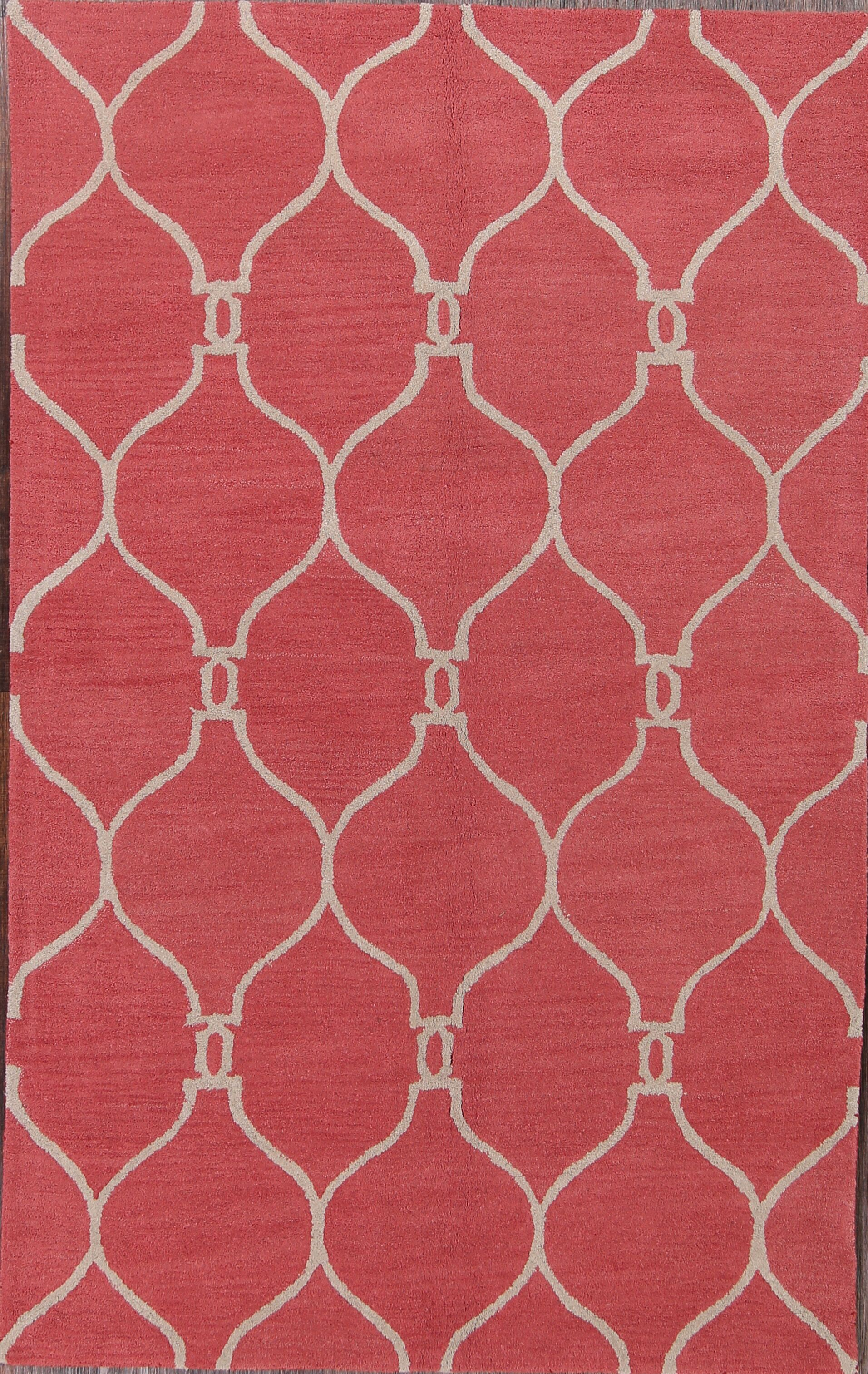 Nia Moroccan Traditional Trellis Oriental Hand-Tufted Wool Red/Yellow Area Rug