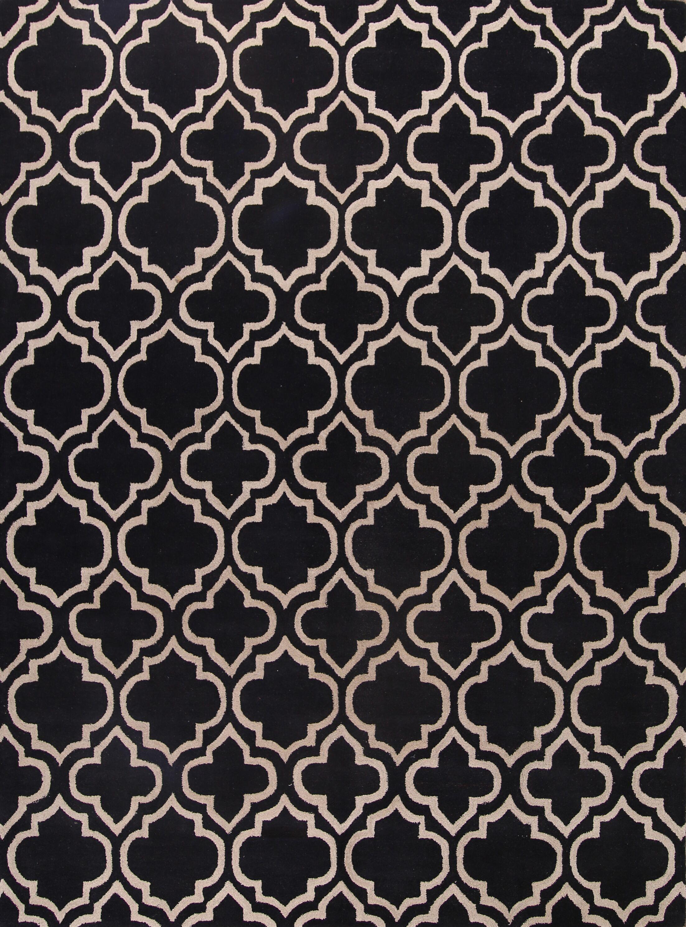 Pryor Traditional Moroccan Trellis Oriental Hand-Tufted Wool Black/White Area Rug