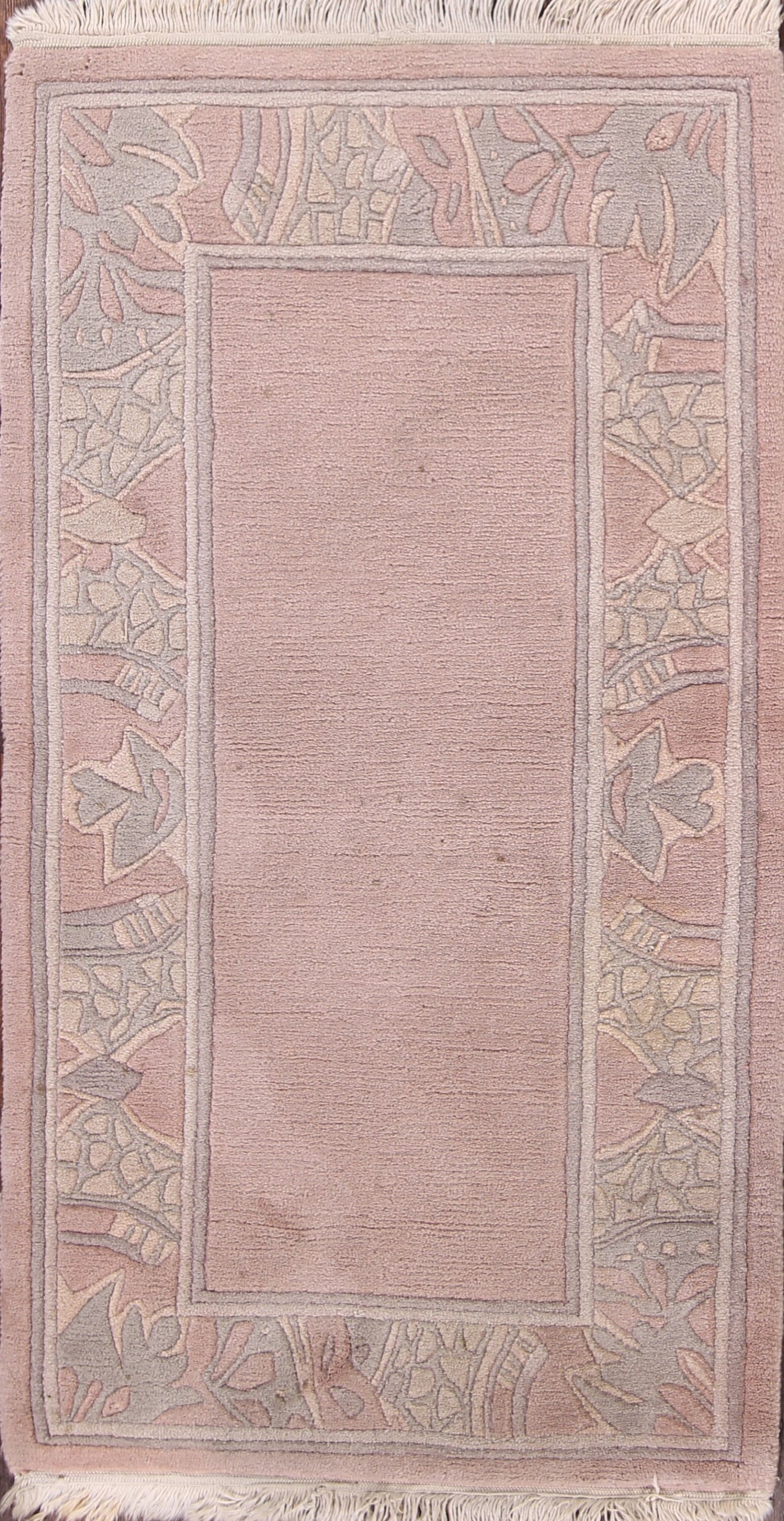Commer Nepal Tibet Oriental Contemporary Hand-Knotted Wool Beige/Ivory Area Rug
