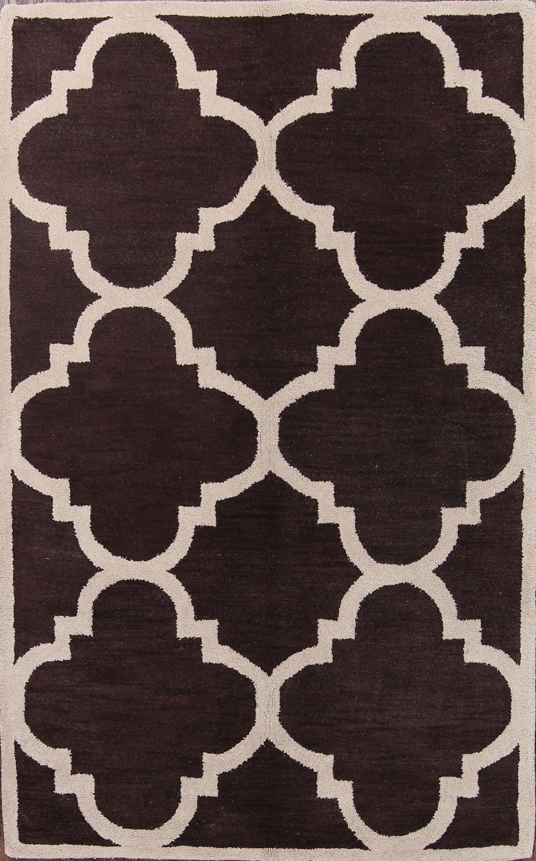 Casimir Traditional Moroccan Trellis Oriental Hand-Tufted Wool Beige/Brown Area Rug