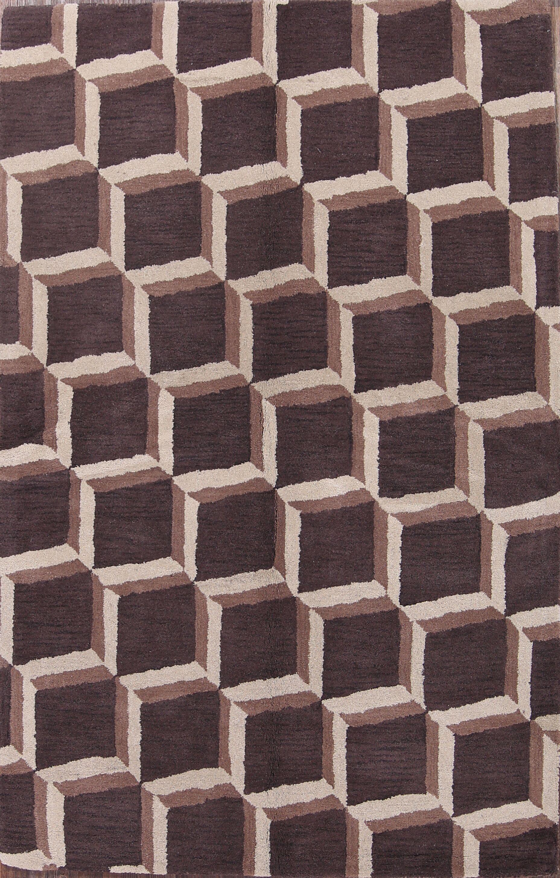 Seidman Oriental Hand-Tufted Wool Beige/Brown Area Rug Rug Size: Rectangle 5'1