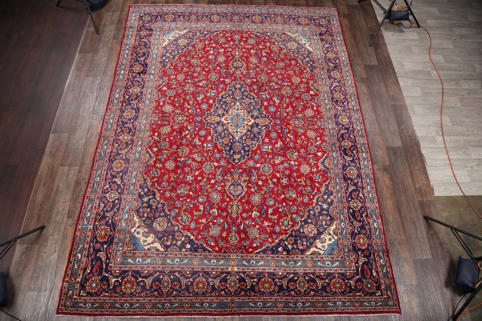 One-of-a-Kind Emelle Traditional Kashan Persian Floral Hand-Knotted 9'5