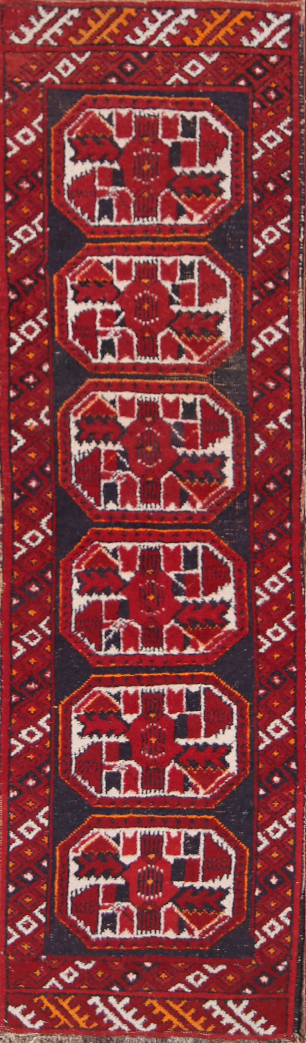 Miriam Balouch Afghan Traditional Oriental Hand-Knotted Wool Burgundy/Black Area Rug