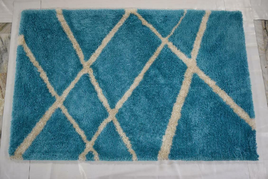 Milana Shaggy Oriental Hand-Tufted Beige/Blue Area Rug
