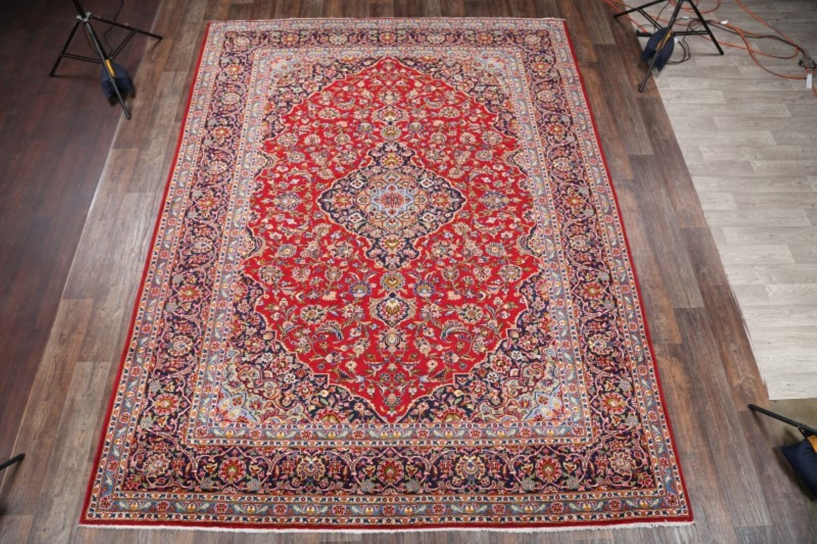 One-of-a-Kind Vintage Kashan Persian Traditional Hand-Knotted 9'9