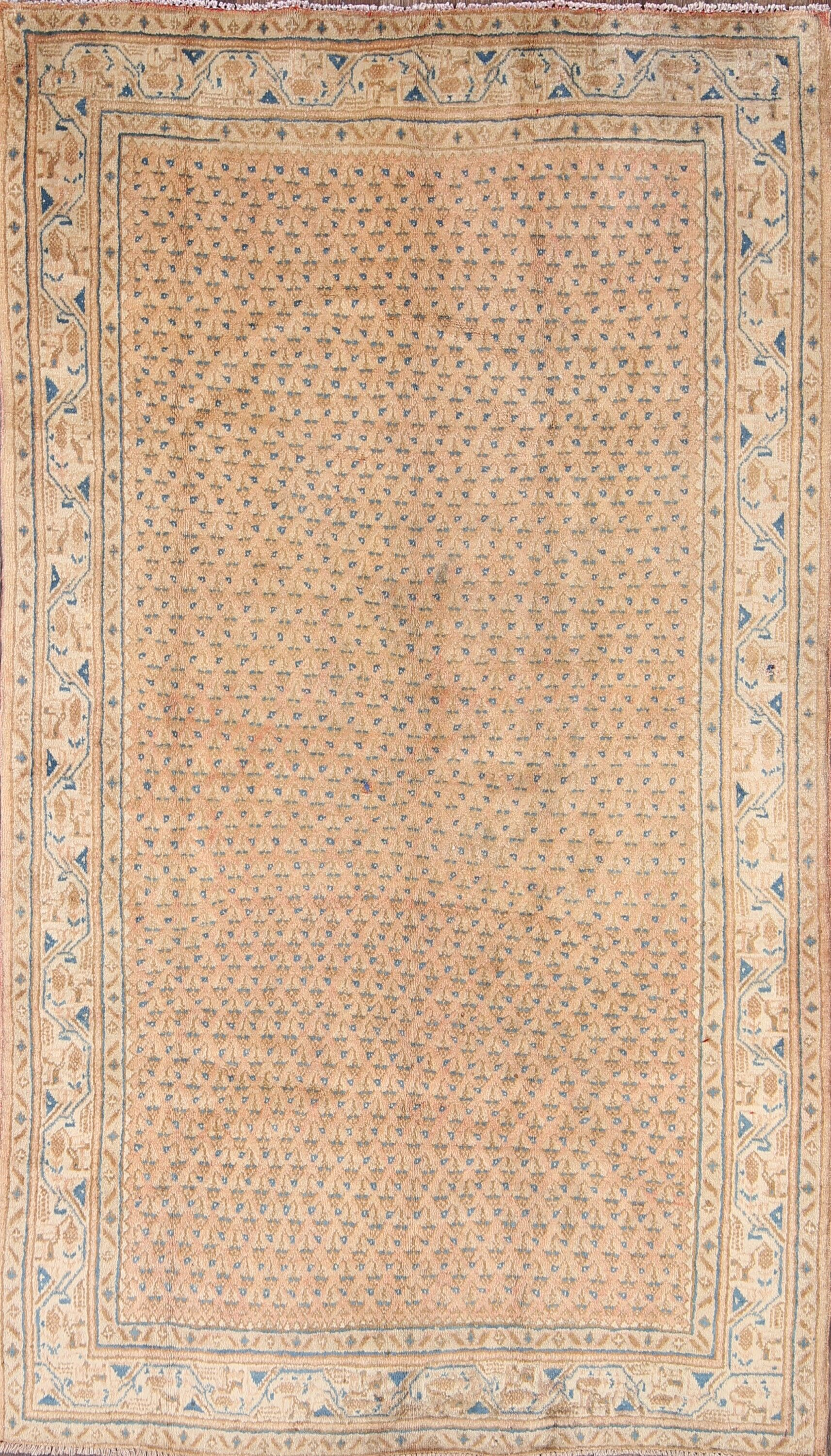 One-of-a-Kind Botemir Bote Traditional Persian Hand-Knotted 3'11