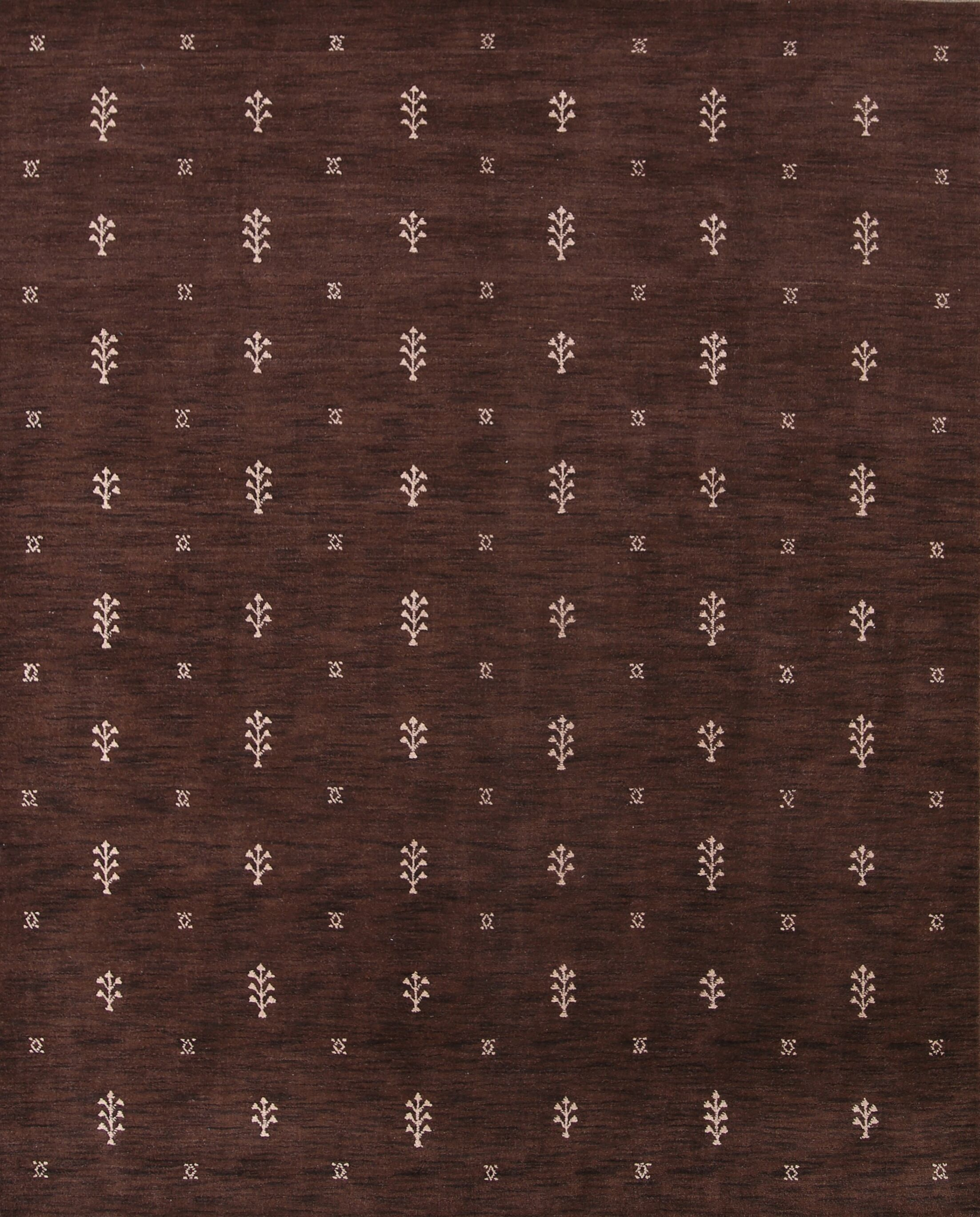 Ashlea Gabbeh Oriental Hand-Knotted Wool Brown Area Rug