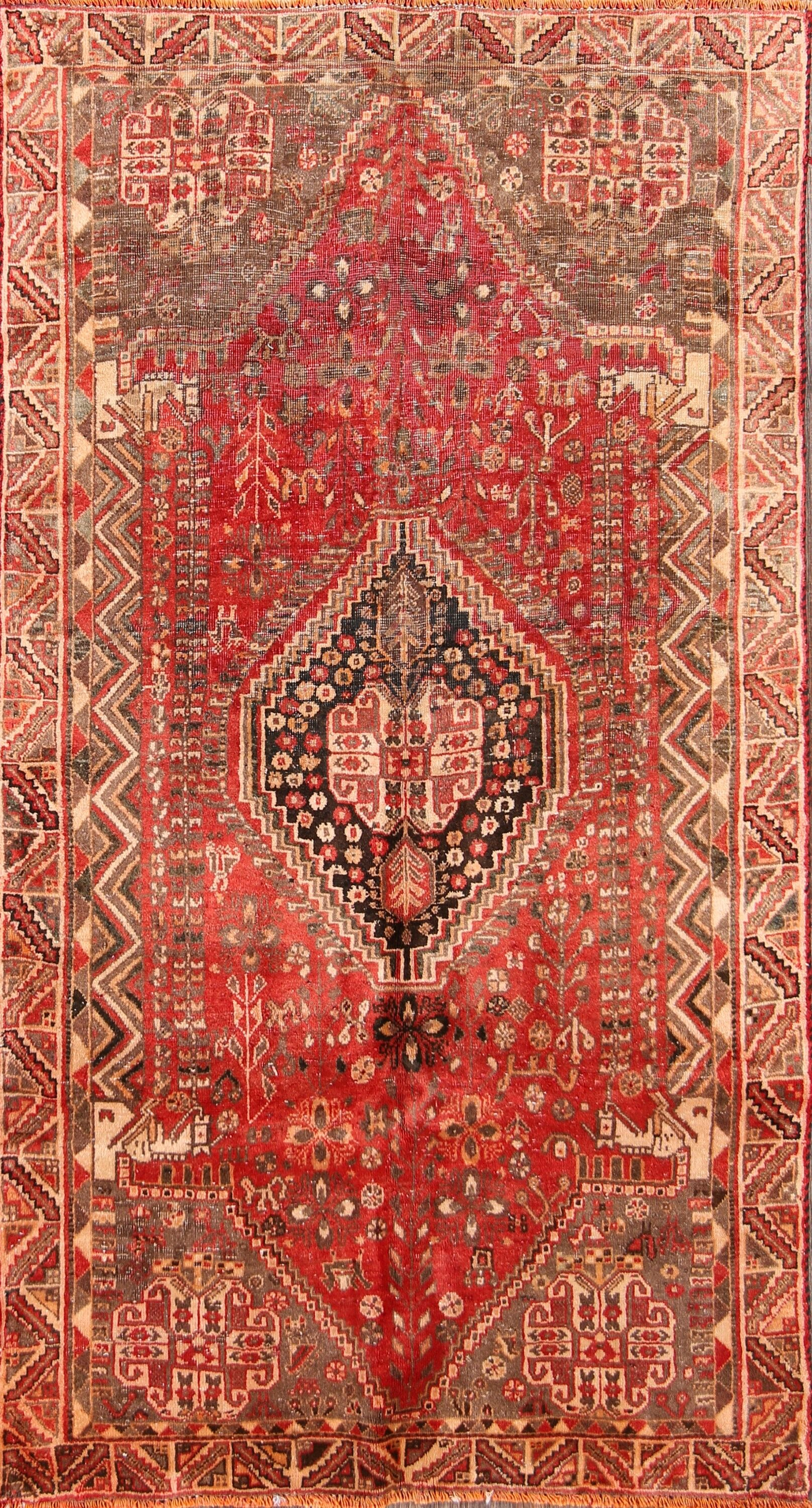 One-of-a-Kind Abadeh Persian Classical Hand-Knotted 3'7