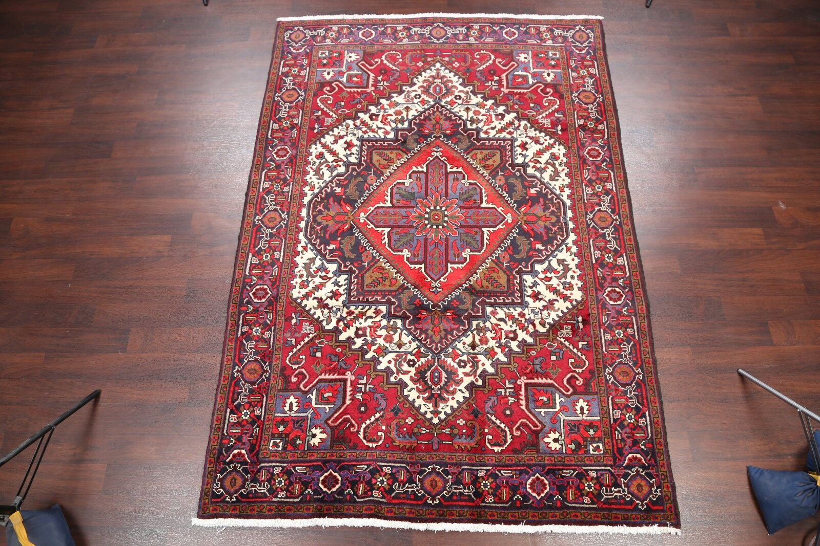 One-of-a-Kind Geometric Heriz Persian Traditional Hand-Knotted 6'6