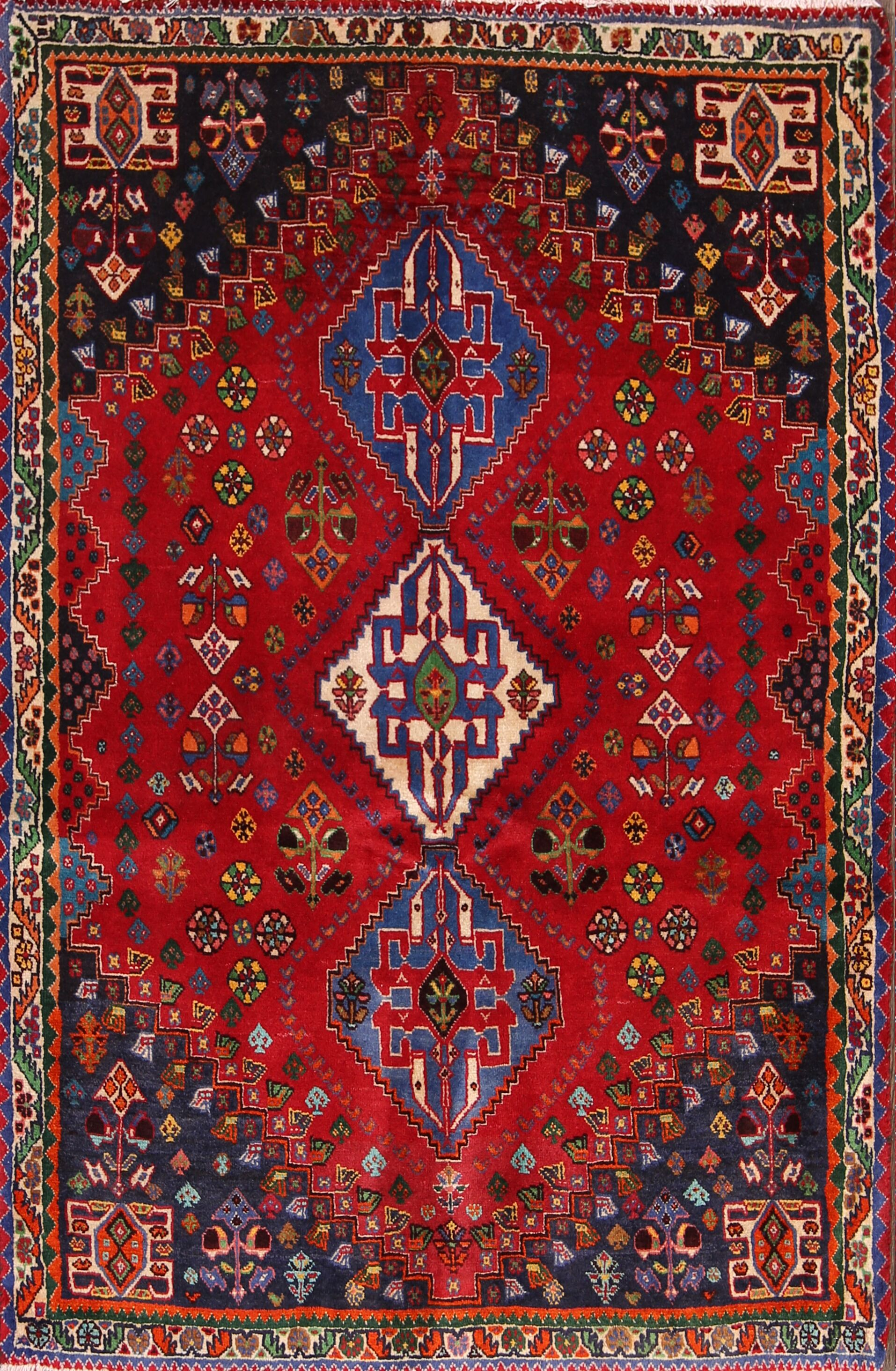 One-of-a-Kind Traditional Abadeh Shiraz Persian Hand-Knotted 3'5