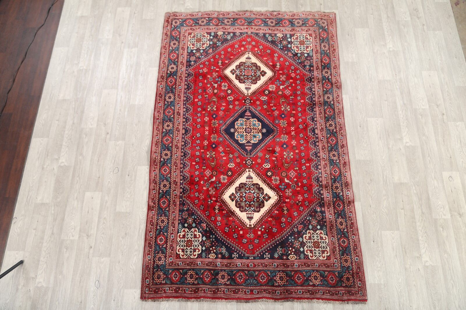 One-of-a-Kind Traditional Abadeh Shiraz Persian Hand-Knotted 5'6