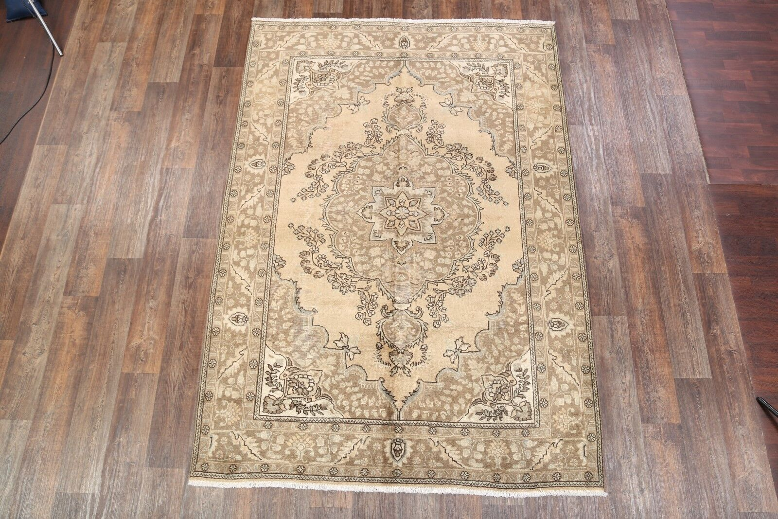 One-of-a-Kind Geometric Tabriz Genuine Vintage Persian Hand-Knotted 6'7