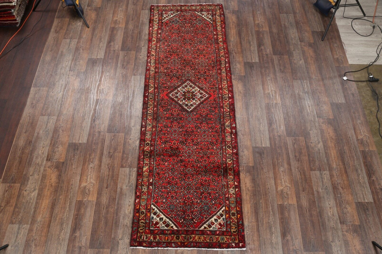One-of-a-Kind Hamadan Geometric Persian Hand-Knotted 3'6