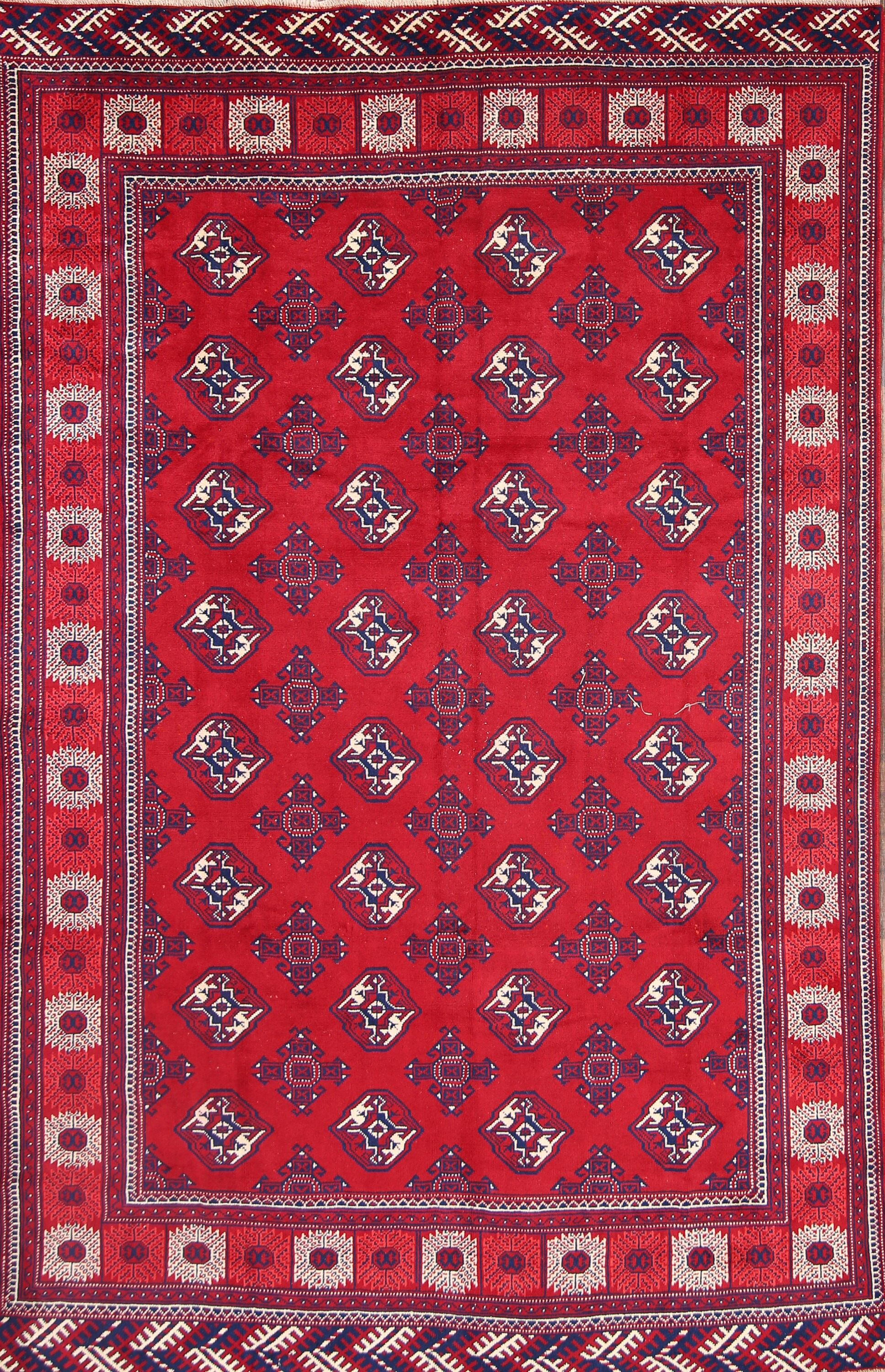 Molena Balouch Afghan Vintage Geometric Traditional Oriental Hand-Knotted Wool Red/Burgundy Area Rug
