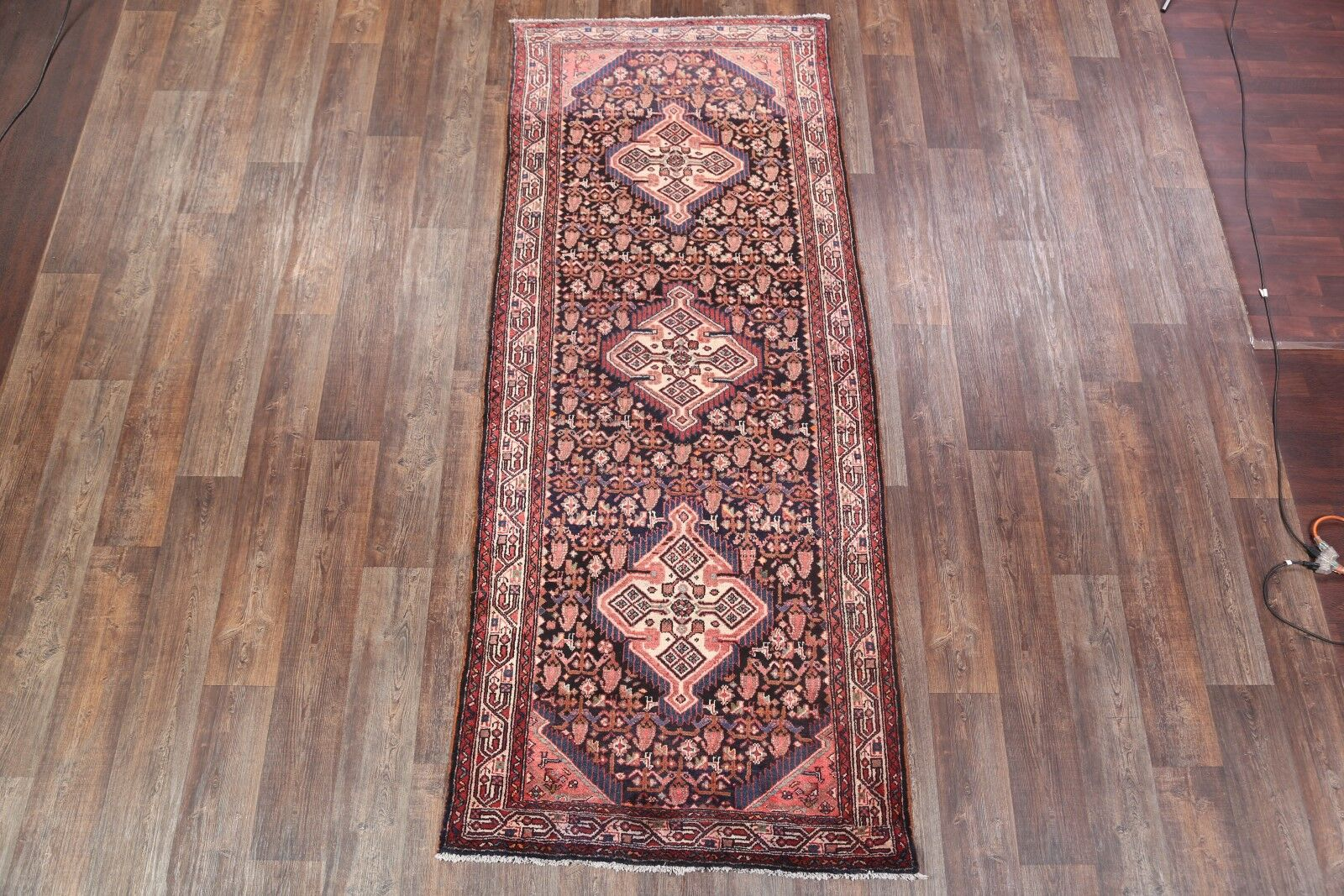 One-of-a-Kind Geometric Hamadan Persian Hand-Knotted 4' x 9'10