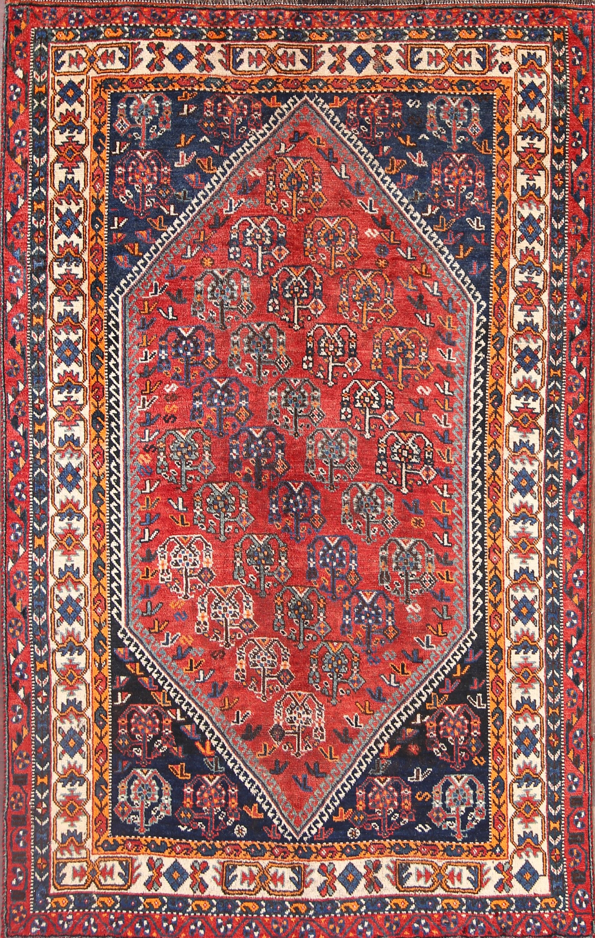 One-of-a-Kind Tribal Lori Shiraz Persian Hand-Knotted 5' x 8'2
