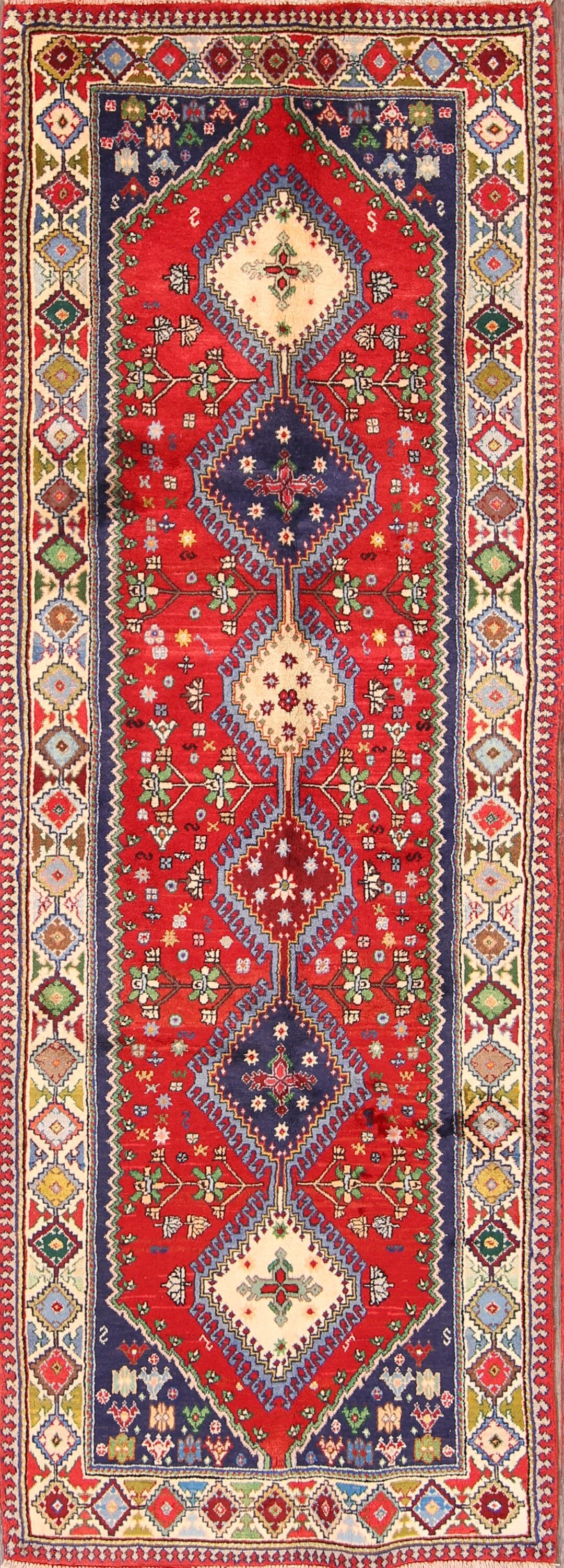 One-of-a-Kind Geometric Tribal Yalameh Persian Hand-Knotted 3'4