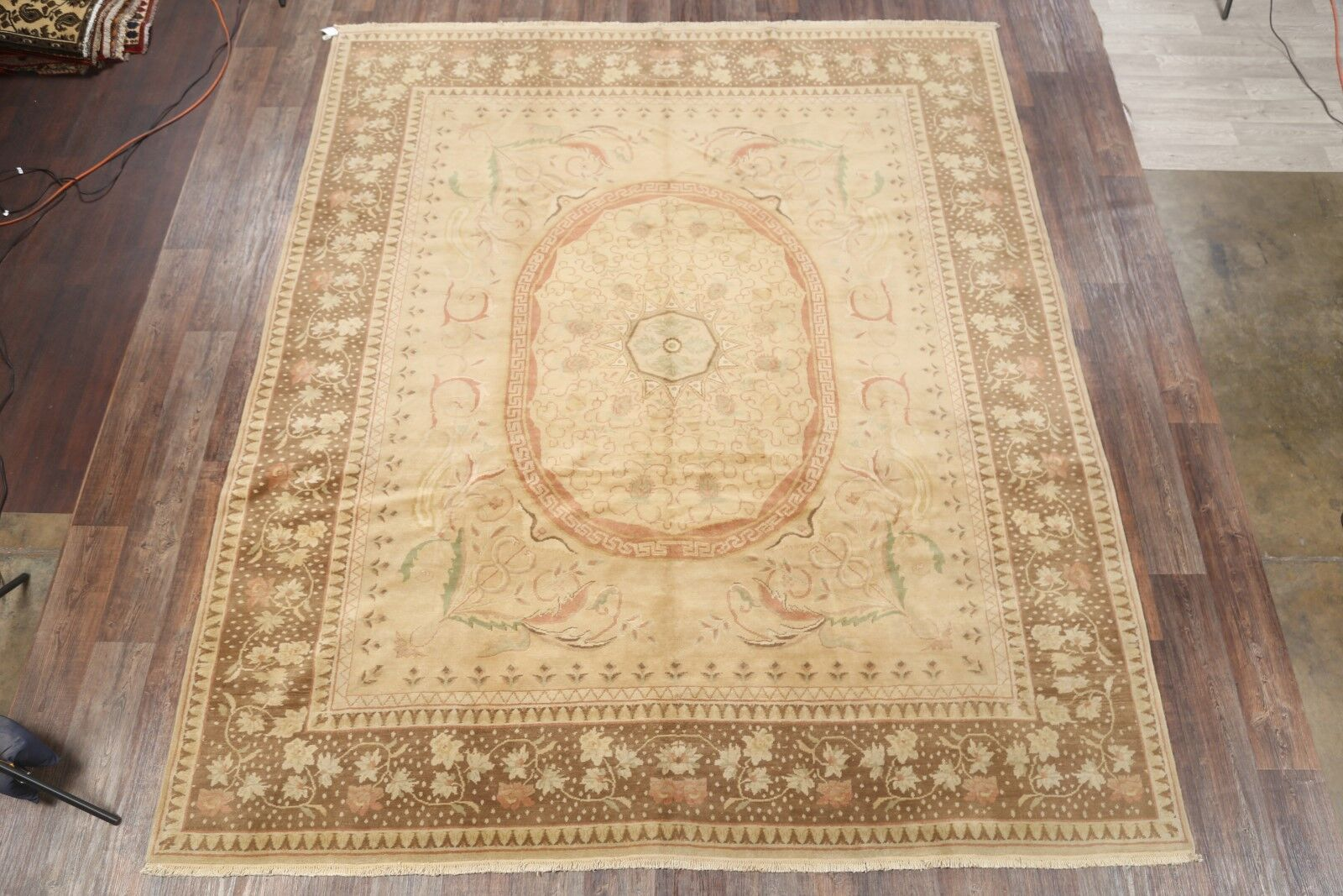 One-of-a-Kind Naber Oushak Egyptian Oriental Hand-Knotted Wool Beige/Ivory Area Rug