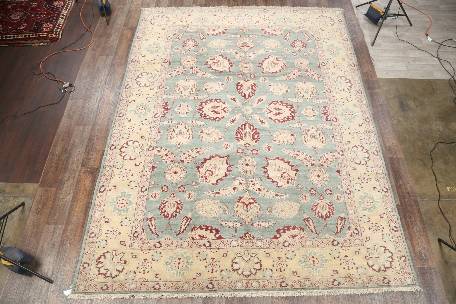 One-of-a-Kind Batson Oushak Oriental Hand-Knotted Wool Green Area Rug