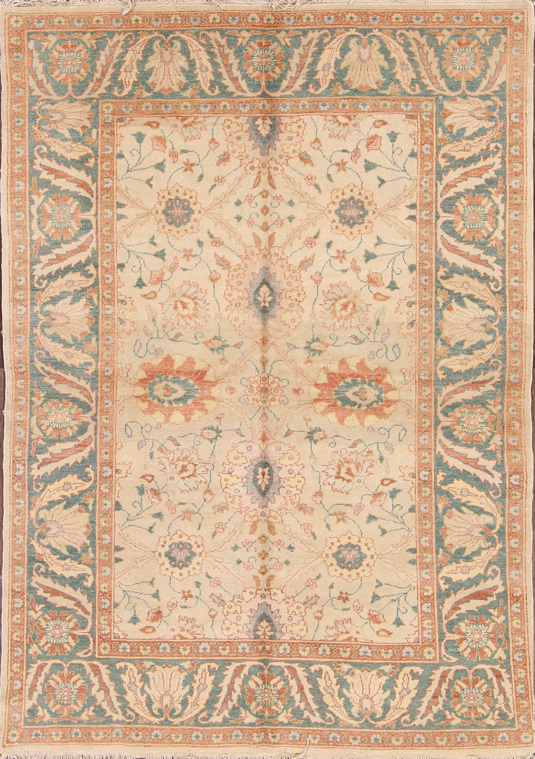 One-of-a-Kind Shibata Oushak Egypt Oriental Hand-Knotted Wool Beige/Ivory Area Rug