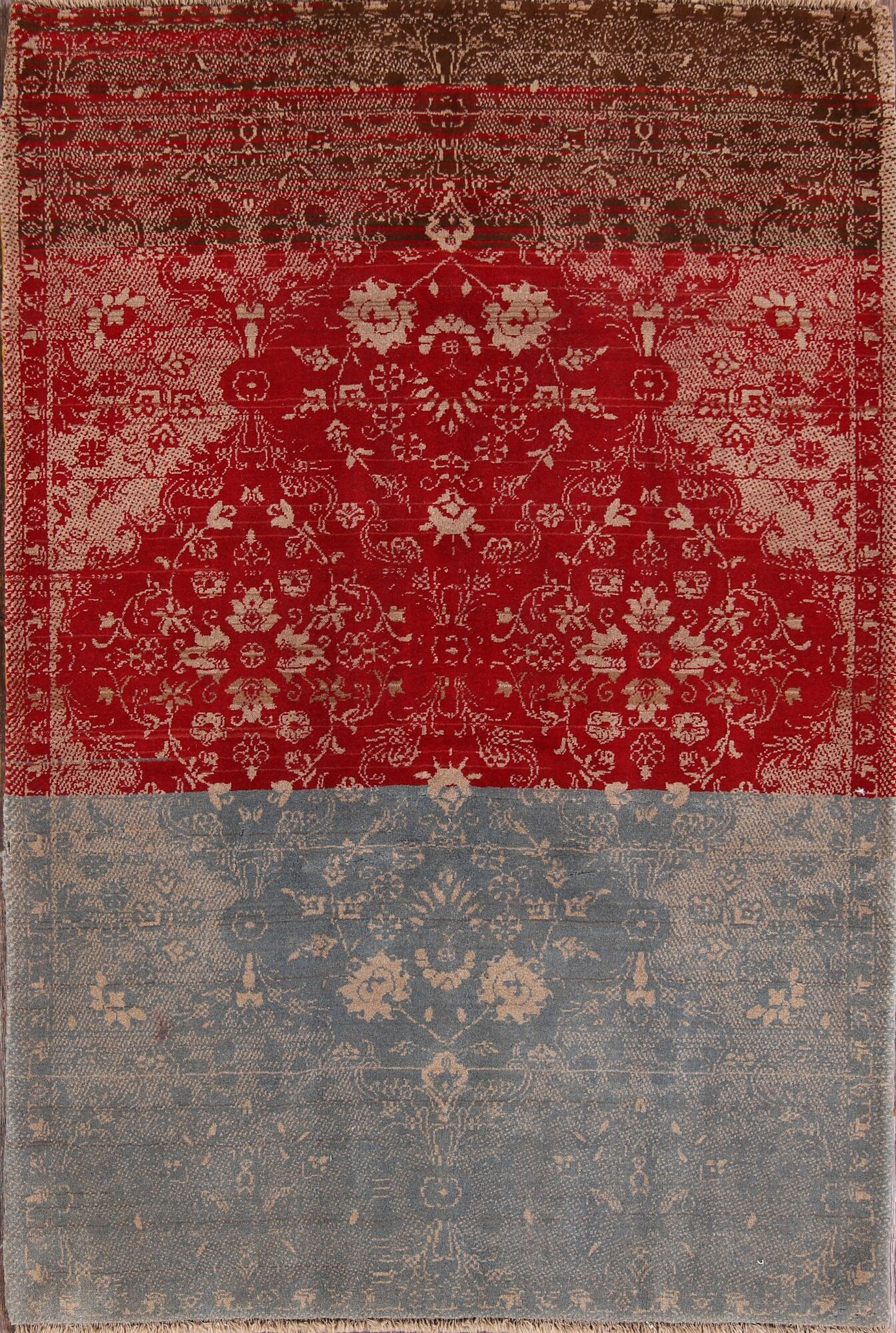 One-of-a-Kind Geometric Shiraz Persian Traditional Hand-Knotted 4'11