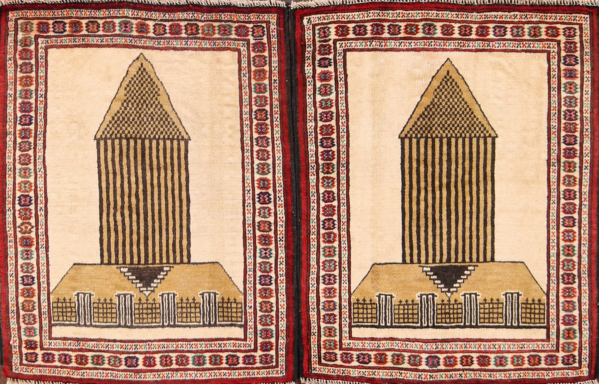 One-of-a-Kind Traditional Turkoman Bokhara Persian Hand-Knotted 2'4