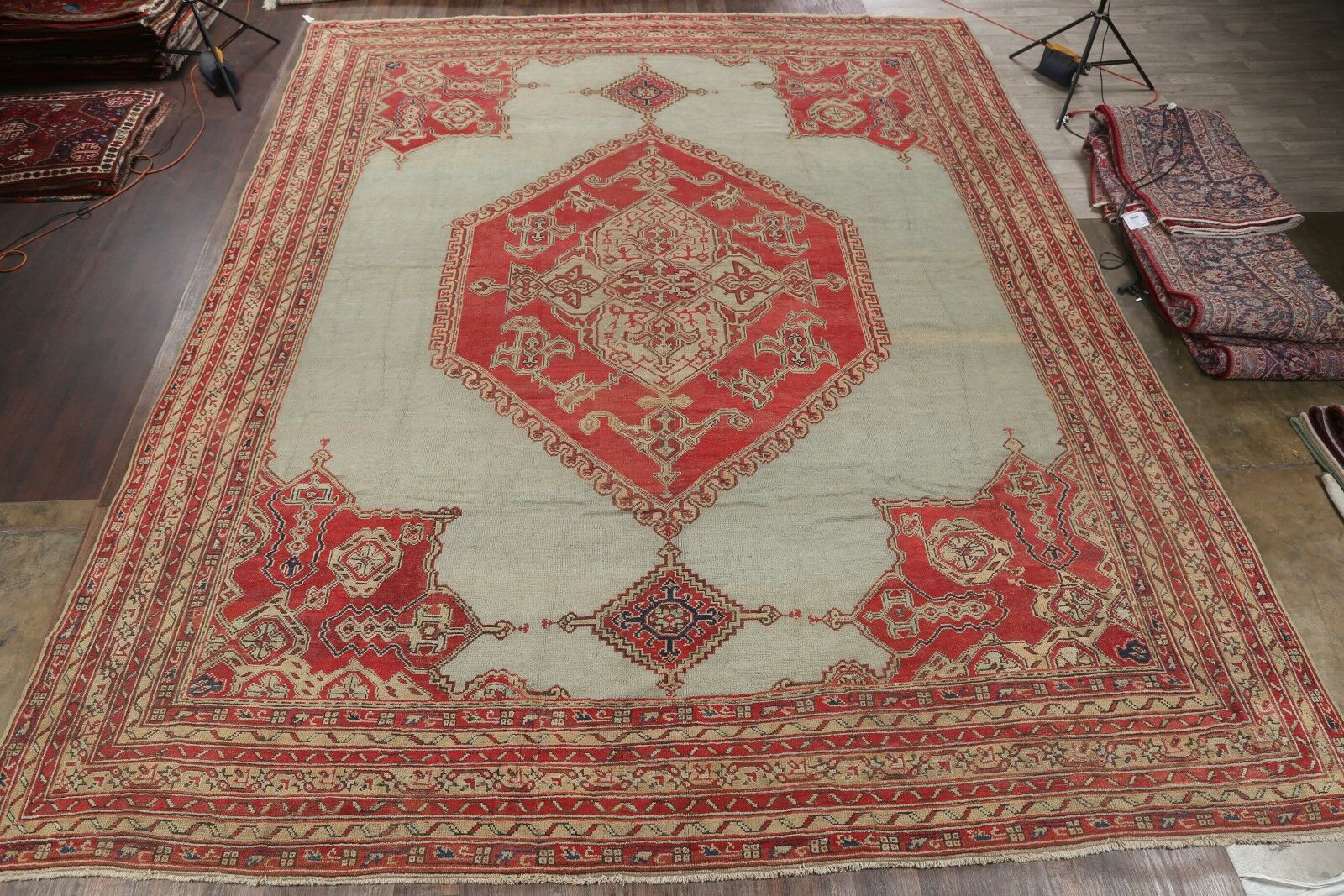 One-of-a-Kind Viqueque Oushak Turkish Oriental Hand-Knotted Wool Green Area Rug