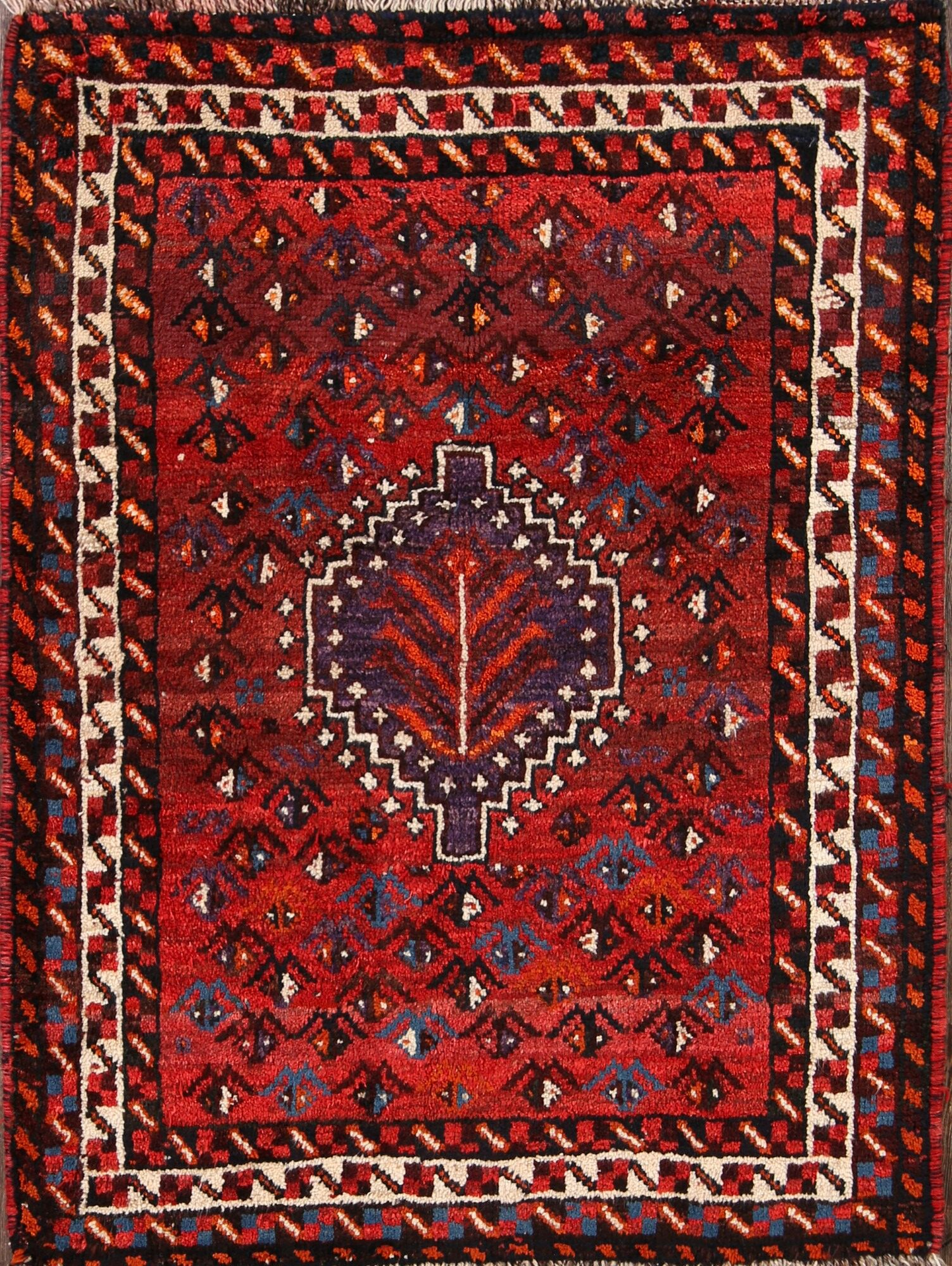 One-of-a-Kind Mcdougall Shiraz Abadeh Persian Hand-Knotted 3'7
