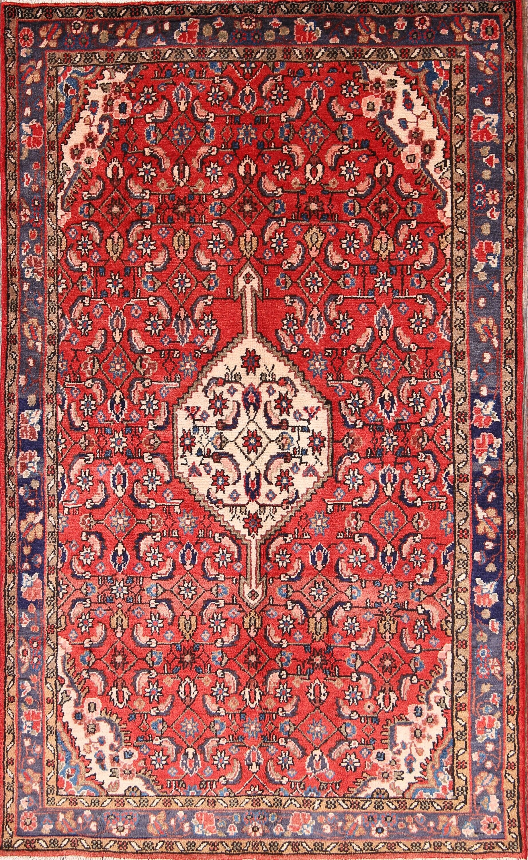One-of-a-Kind Malayer Hamadan Persian Hand-Knotted 4'3