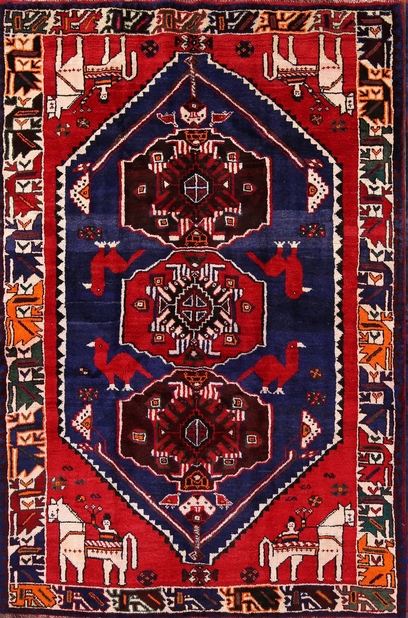 One-of-a-Kind Eskridge Traditional Shiraz Persian Geometric Hand-Knotted 5'6
