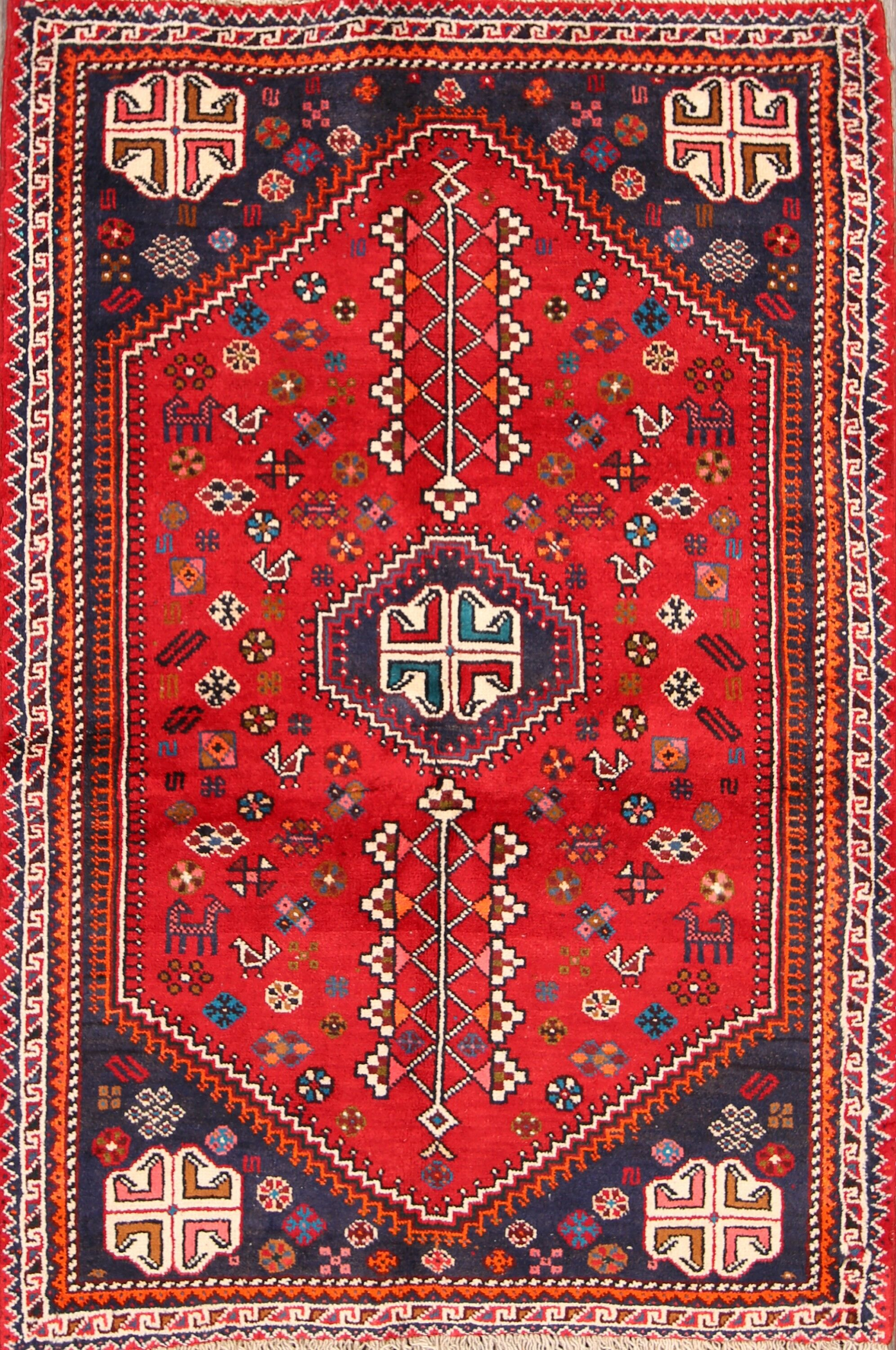 One-of-a-Kind Traditional Abadeh Shiraz Persian Hand-Knotted 3'7