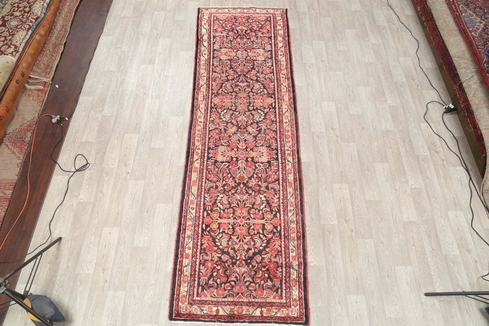 One-of-a-Kind Lilian Hamadan Traditional Persian Vintage Hand-Knotted 3'8