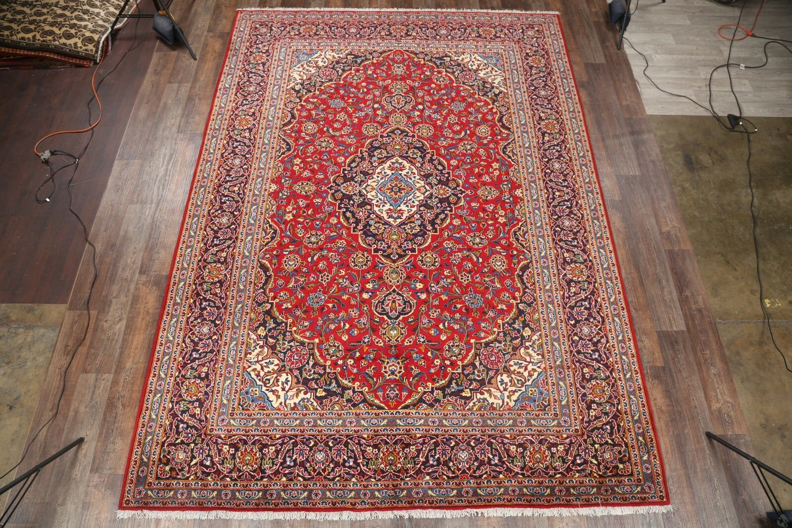 One-of-a-Kind Kashan Persian Medallion Hand-Knotted 9'4