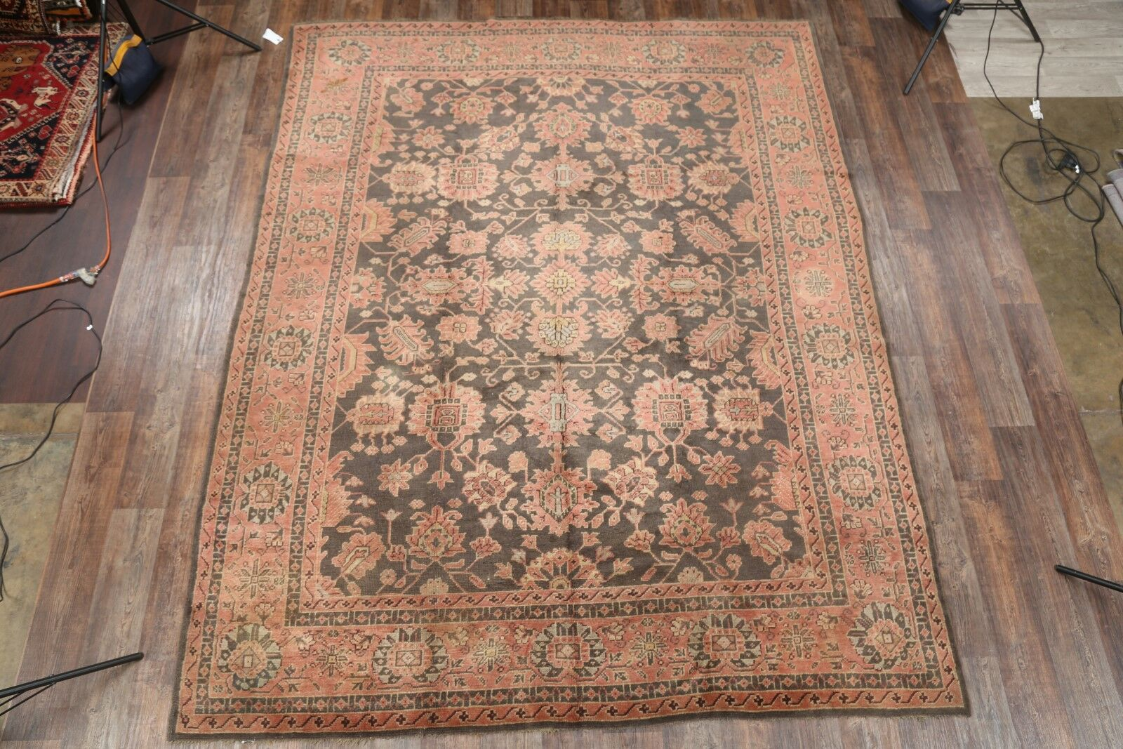 One-of-a-Kind Thill Oushak Turkish Oriental Hand-Knotted Wool Black Area Rug