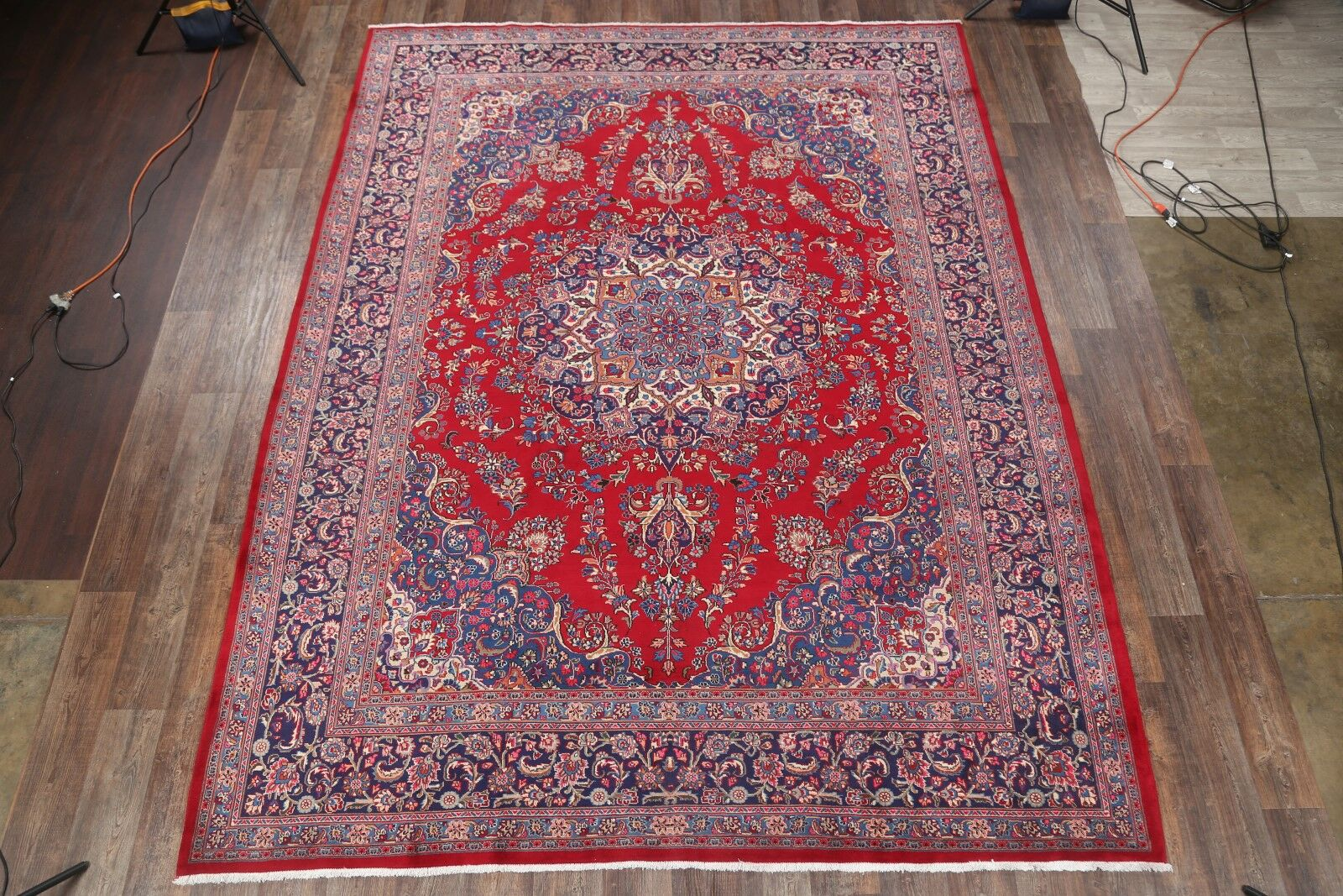 One-of-a-Kind Mashad Vintage Persian Traditional Hand-Knotted 9'9