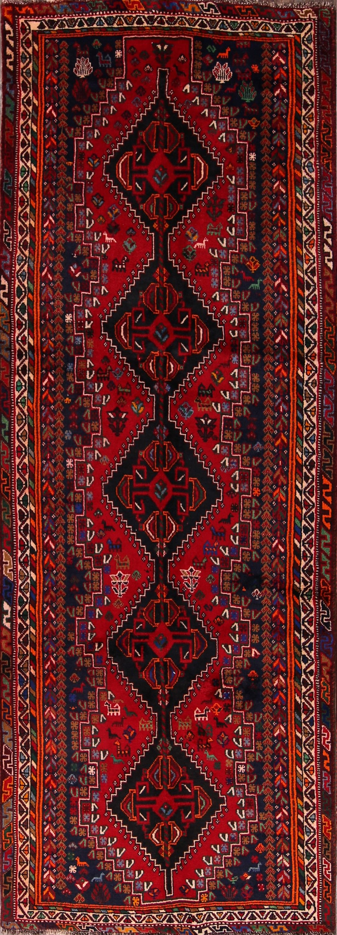One-of-a-Kind Shiraz Persian Hand-Knotted 3'7