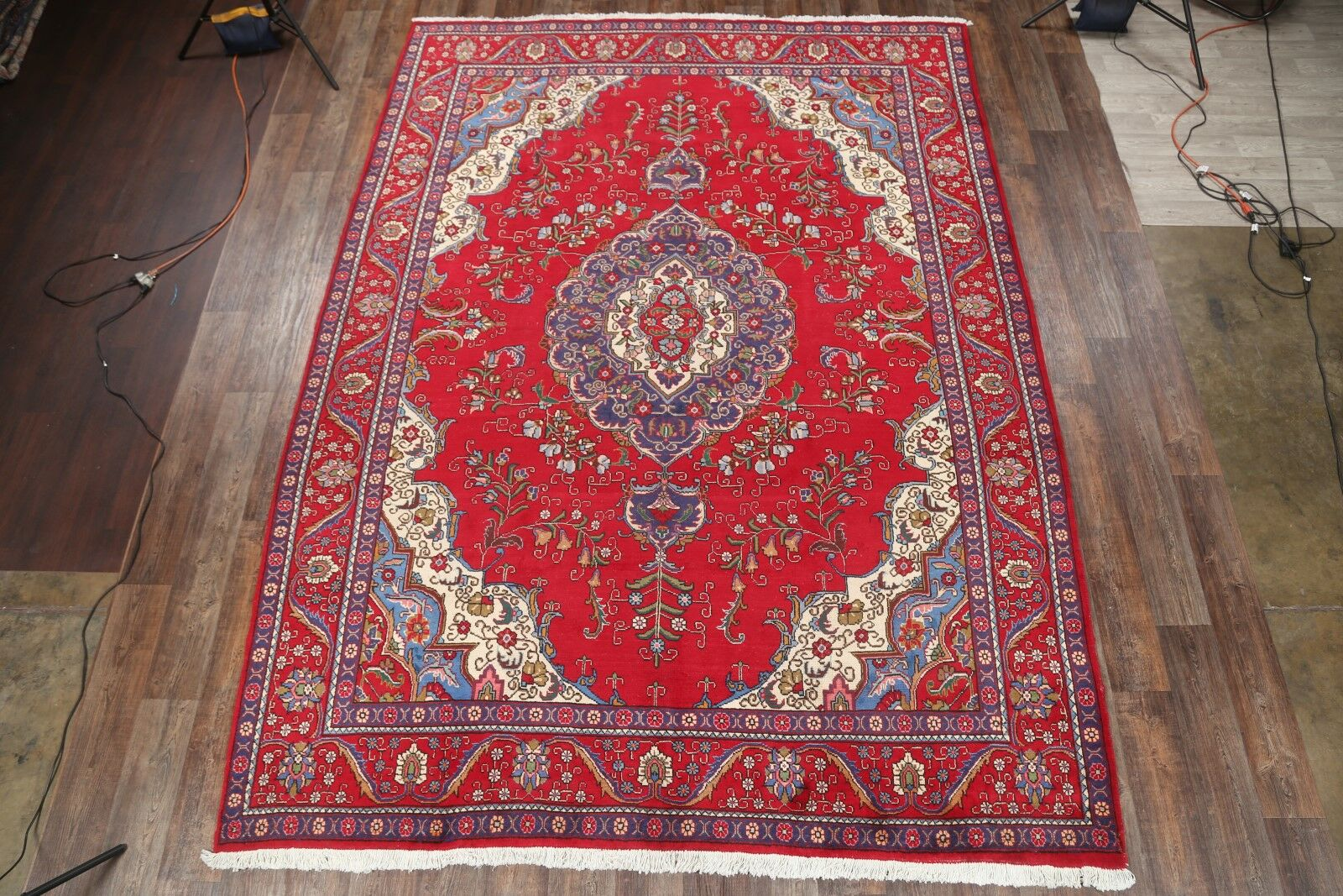 One-of-a-Kind Traditional Tabriz Classical Persian Hand-Knotted 9'7