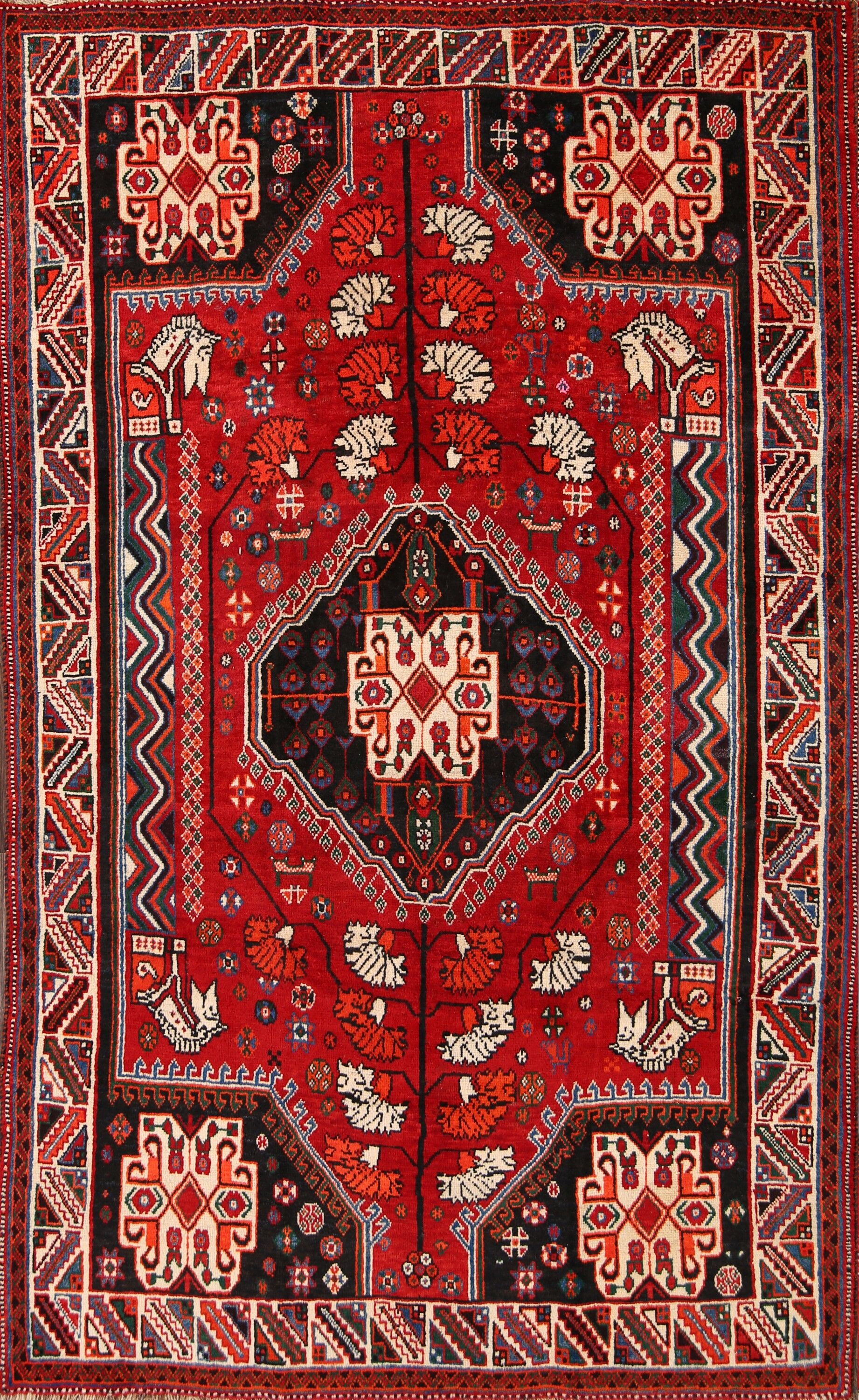 One-of-a-Kind Classical Shiraz Persian Hand-Knotted 5'1